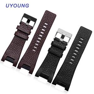 Image 1 - Kalite Hakiki Deri Watchband 32*17MM Çentik Dizel DZ1216 DZ4246 izle bant Özel arayüz Yedek Deri Kayış