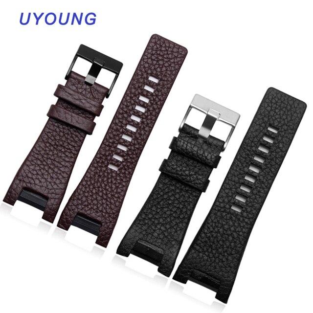 Kalite Hakiki Deri Watchband 32*17MM Çentik Dizel DZ1216 DZ4246 izle bant Özel arayüz Yedek Deri Kayış