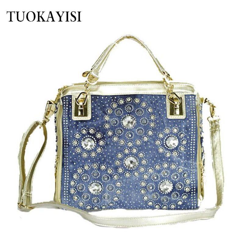 new style Large Handbags Women Luxury Bag Designe Ladies Hand Bags Big Purses Denim Tote Crossbody Women PU Leather shoulder Bag miikln yellow blue black red fashion women bags pu leather big size large ladies handbags crossbody solid zipper new 2017 design