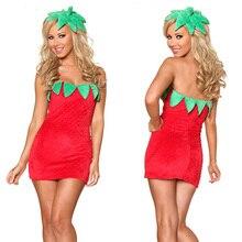 Сексуальный фруктовый костюм для Хэллоуина для девочек, нарядное платье без рукавов для взрослых, костюм клубники для женщин
