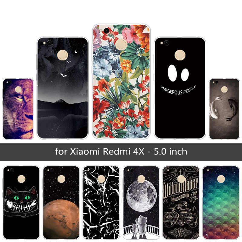 用xiaomi redmi 4 × 4 ×ケース柔らかいシリコーンのためxiaomi Redmi4X xiomi redmi 4xブラックライオンカバー5.0インチ電話capa用Redmi4X