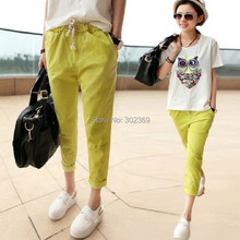 2016 new arrival loose skinny harem capris pants cotton cloth candy multi color ankle length trousers for women ladies 9218