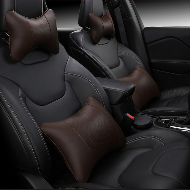 Online Shop KKYSYELVA Car Seat Supports Auto Back Lumbar Support Leather Pain Cushion Office Chair Black