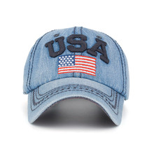 Women Men USA Denim Rhinestone Baseball Cap Snapback Hip Hop Flat Hat  baseball cap women hats 61a5322d432