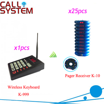 433.92MHZ Queue Patron Pager system Fast food call system 1 transmitter with 25 buzzer paging