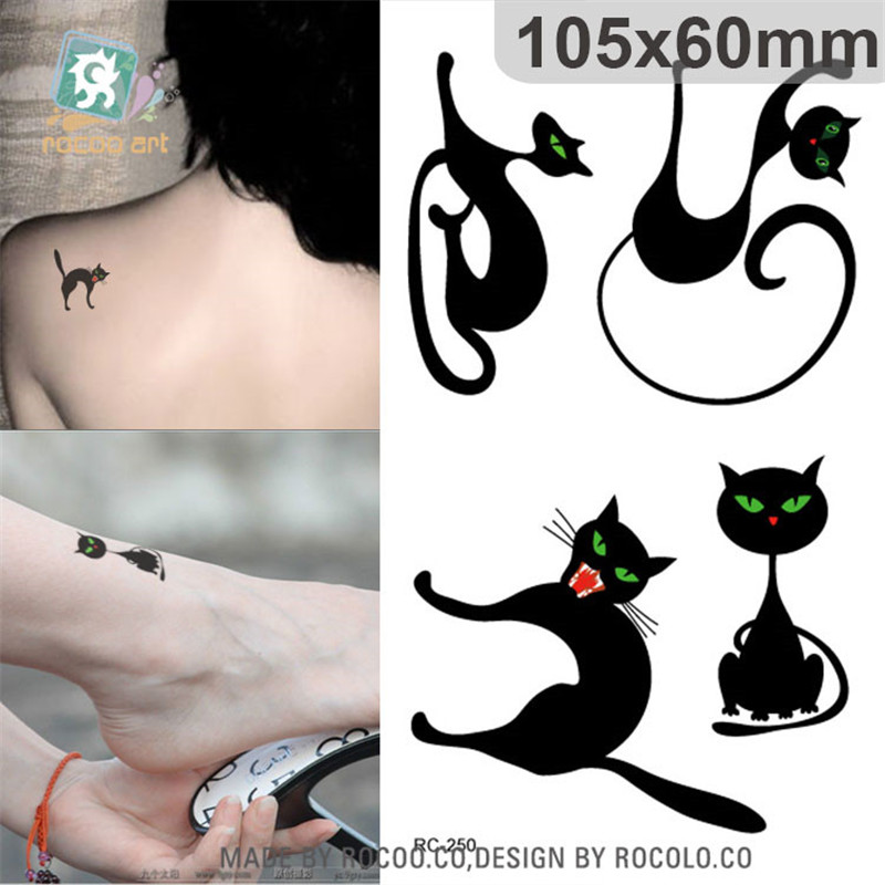 lady women cute 3d black cat design flash tattoo sticker
