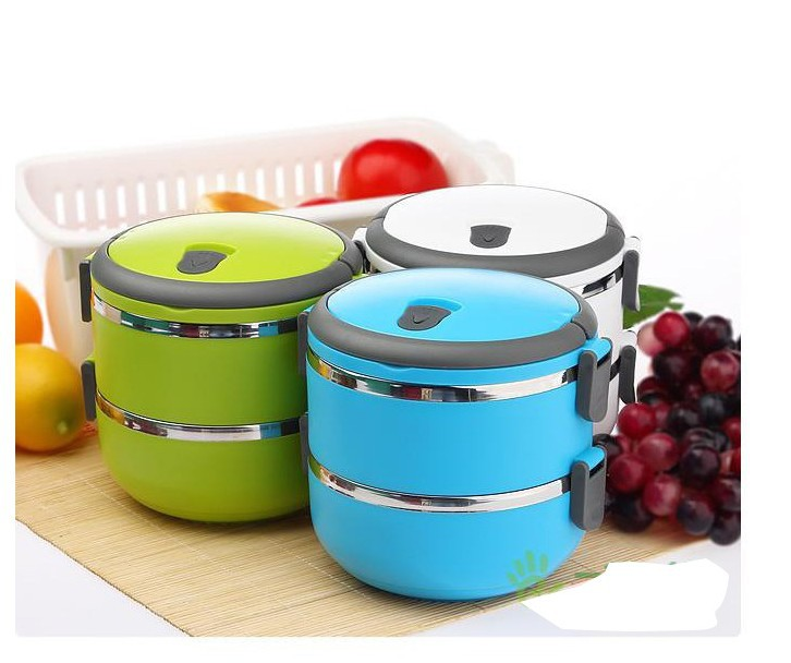 free shipping useful two layers thermal lunch box bento box food stainless steel insulation. Black Bedroom Furniture Sets. Home Design Ideas