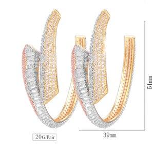 Image 5 - GODKI יוקרה Shinning גדול חישוק עגיל לנשים חתונה פופולרי 3 טון גיאומטריה מלא מרק מעוקב זירקון ניגרי חישוק עגילים