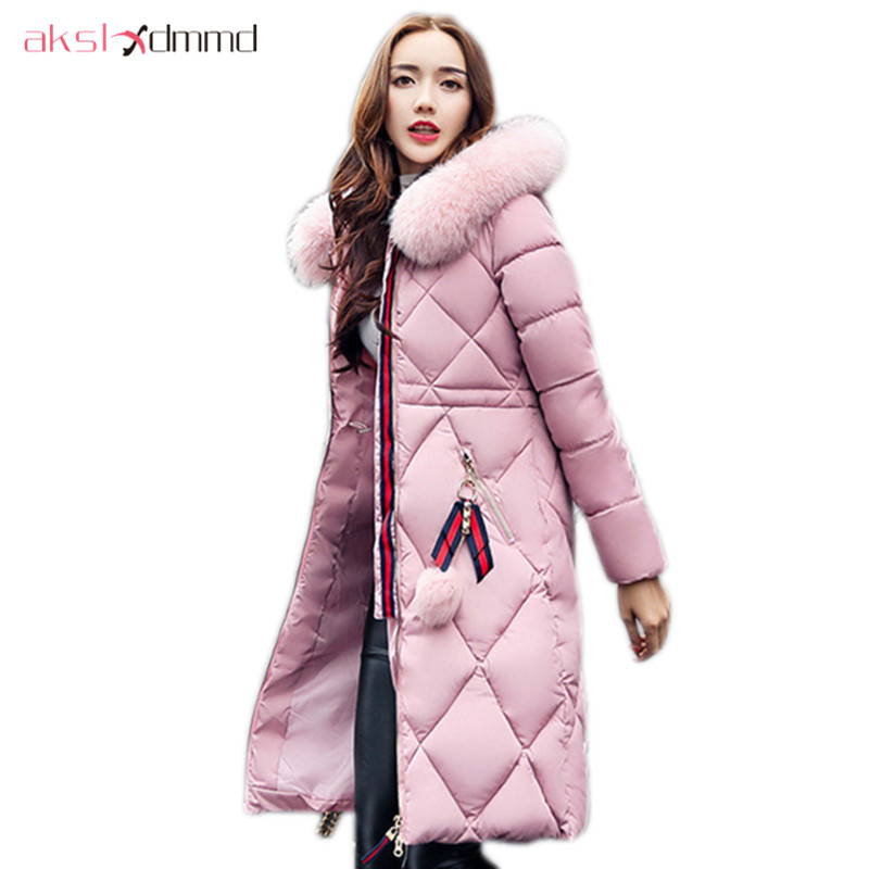 AKSLXDMMD   Parka   Mujer 2019 New Winter Women's Jacket Fur Collar Hooded Fur-ball Thick Long Coat Female Padded Jackets LH1062