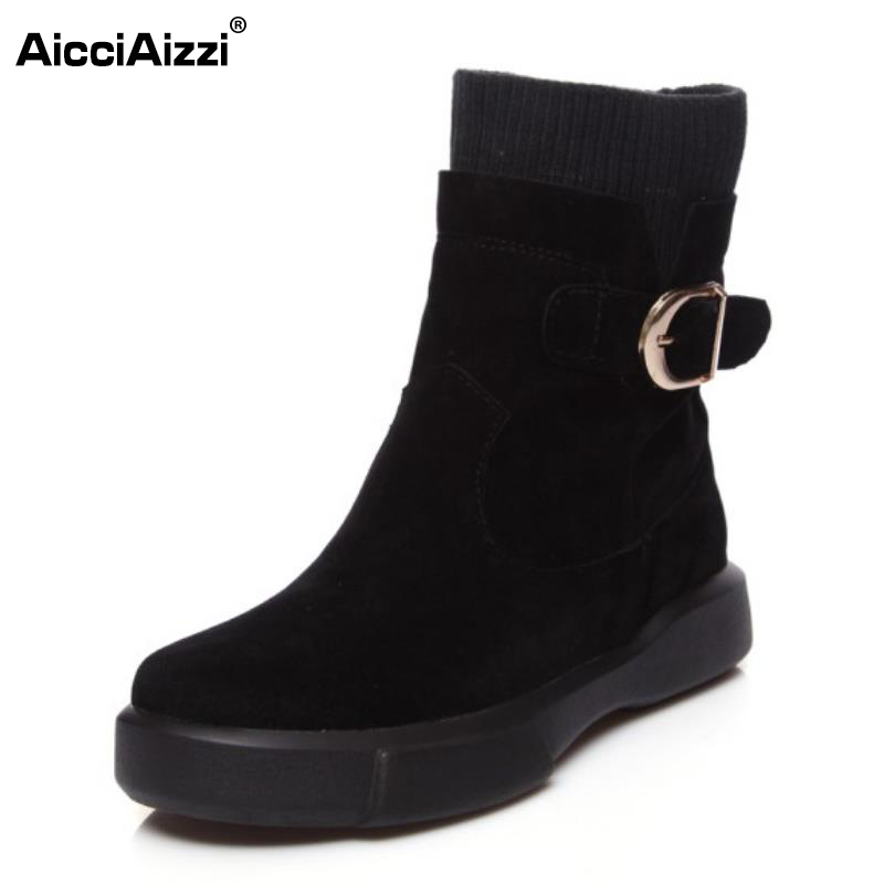 AicciAizzi Size 34-43 Women Half Short Flats Boots Warm Fur Buckle Boots Women Winter Shoes For Snow Short Botas Woman Footwears news russia winter warm snow boots women real leather thickened fur knee boots woman flats zip shoes woman botas size 34 42
