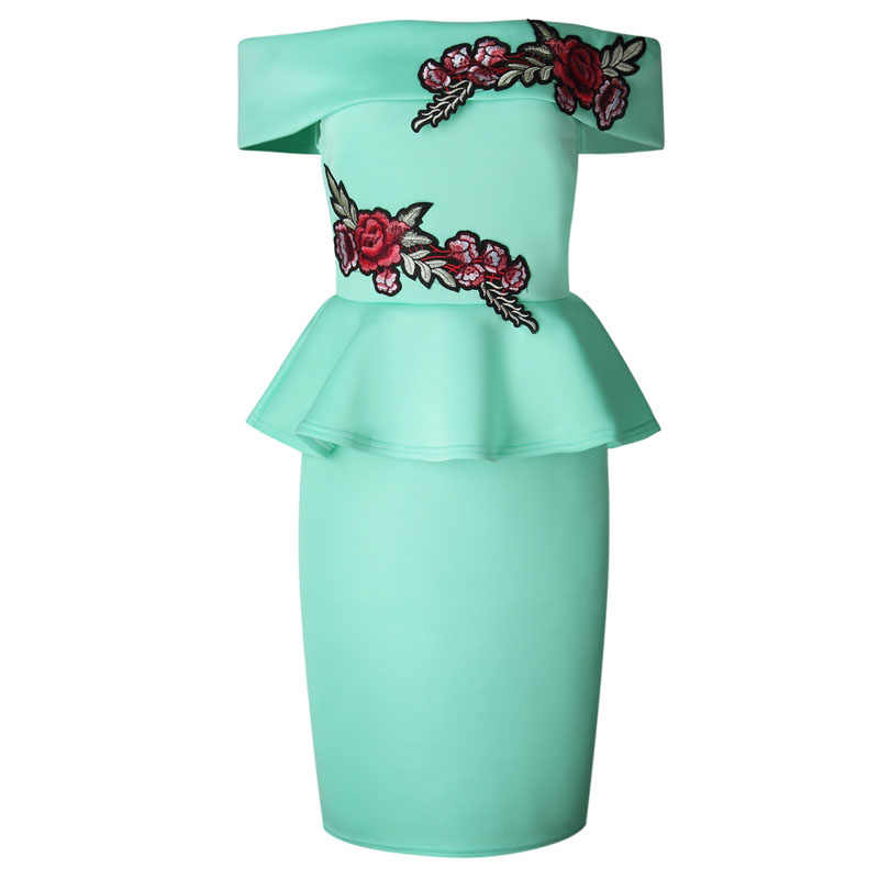 e67f16cb43cb ... Turquoise Pink Off Shoulder Slash Neck Floral Embroidery Package Hips  Bodycon Midi Dress Elegant Ladies ...