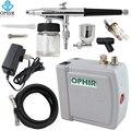 OPHIR 0.3mm Kit Aerógrafo com Compressor de Ar Dupla Ação Air-Arma escova de Pintura para a Decoração Do Bolo/Prego Art/Maquiagem/Tatuagem Do Corpo