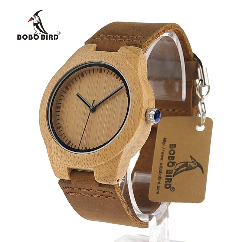 BOBO BIRD Bamboo Watches Women Wooden Dial Soft Leather Strap Simple Design Quartz Clock in Box as Birthday Gift bobo bird lbk04 elk and wolf dial face with soft leather women wooden watches fashion casual band mujer clock in gift box