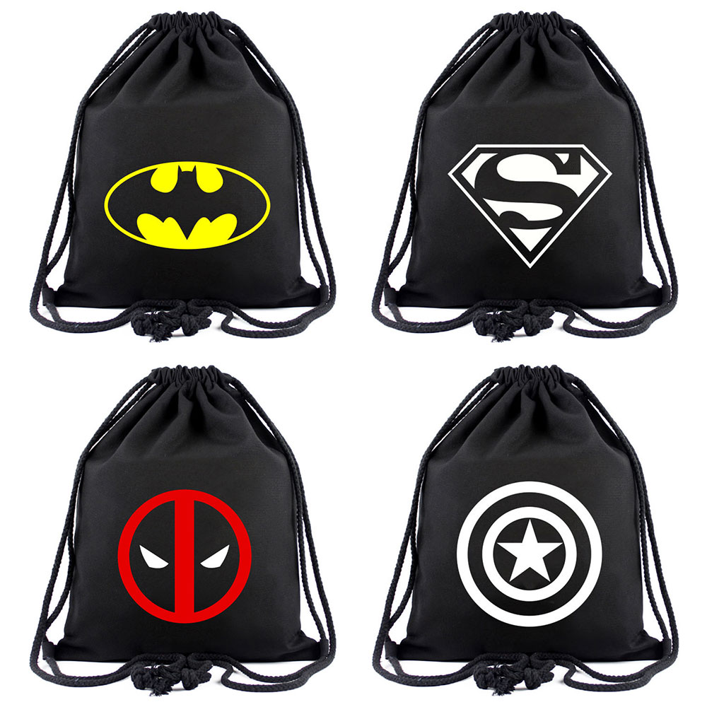 Batman Superman Deadpool Wonder Woman Women Bagpack Teenagers Schoolbags Men Backpacks Canvas School bag String Drawstring bagBatman Superman Deadpool Wonder Woman Women Bagpack Teenagers Schoolbags Men Backpacks Canvas School bag String Drawstring bag
