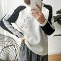2016 Harajuku Otoño Invierno Mujeres Suéteres Y Pullovers Nueva Corea Abrigos de Punto Bordado de Flores Retro de la Mujer Suéter suéter