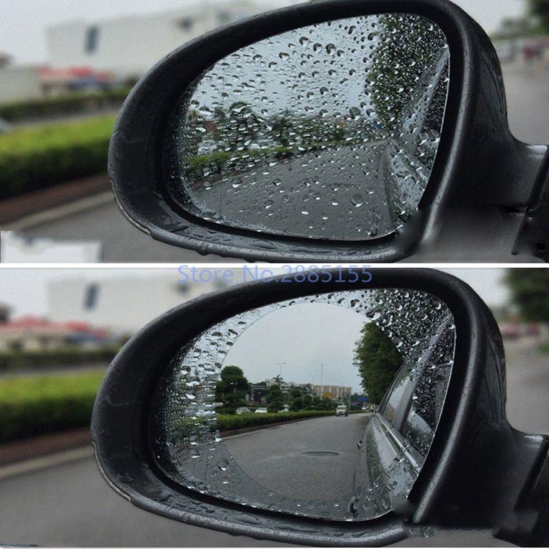 Round Shape Anti-glare Car Motorcycle Rearview Mirror Film Sticker PET 1 Pair