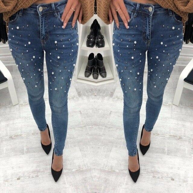 Pearls Beading Skinny Denim Jeans Women S Slim Rivet Pearl Jeans