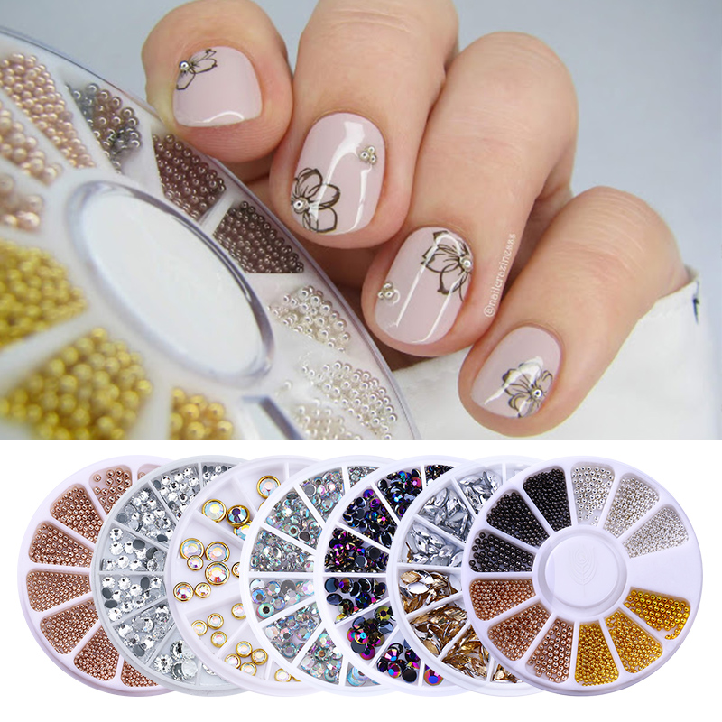 Nail Rhinestones Mixed Round Square Rose Gold DIY Nail Accessories Tool Nail Art Decorations in Wheel for DIY Nails|Rhinestones & Decorations|   - AliExpress