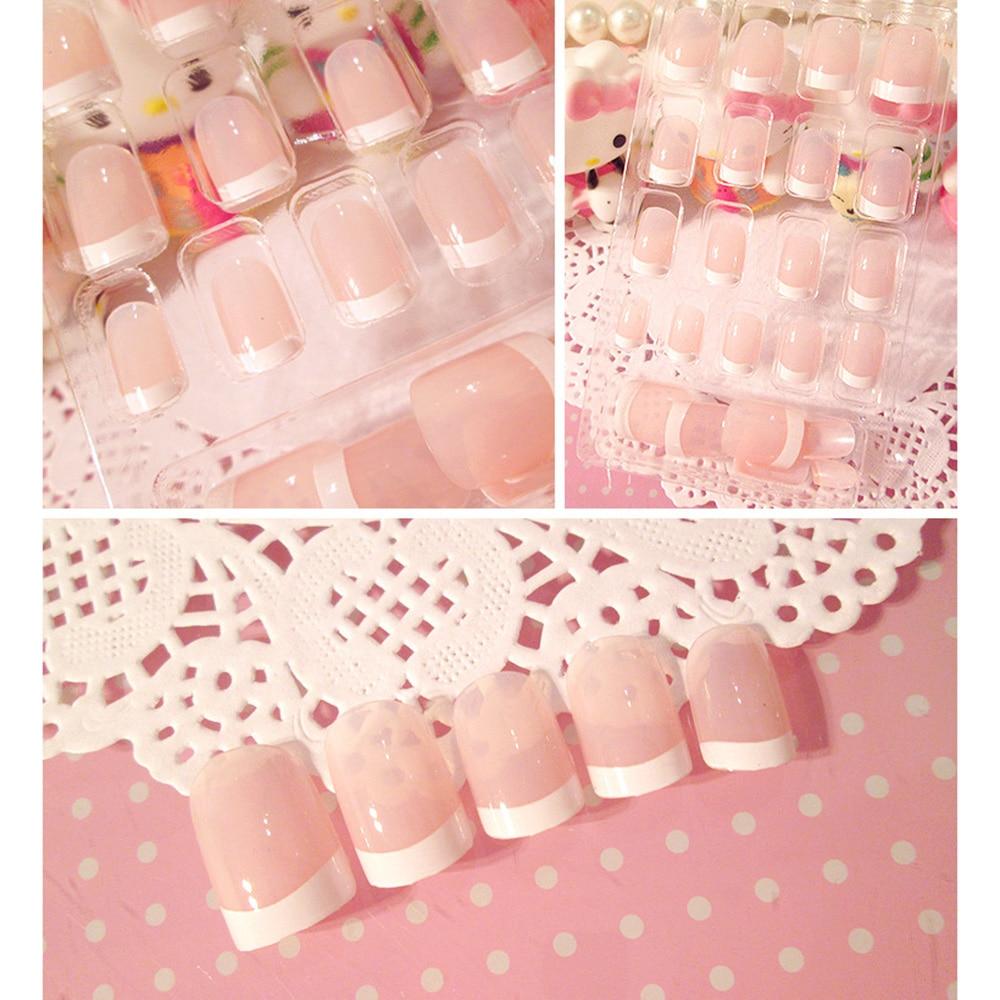 24Pcs Nail Sticker Cute Ladies Short French Style False Nails Galitter Art DIY Decoration Manicures Women Nails +2g Nail Glue