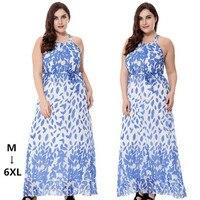 Plus size M-6XL 2018 Hot vrouwen jurk zomer grote maat Tall vrouw obesitas Dames Hals lace-u Afdrukken de bladeren Jurken