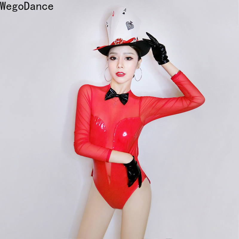 Women Gogo Dance Team Clothes Perspective Bodysuit See through Pu leather Mesh performance costume long sleeve Leotard