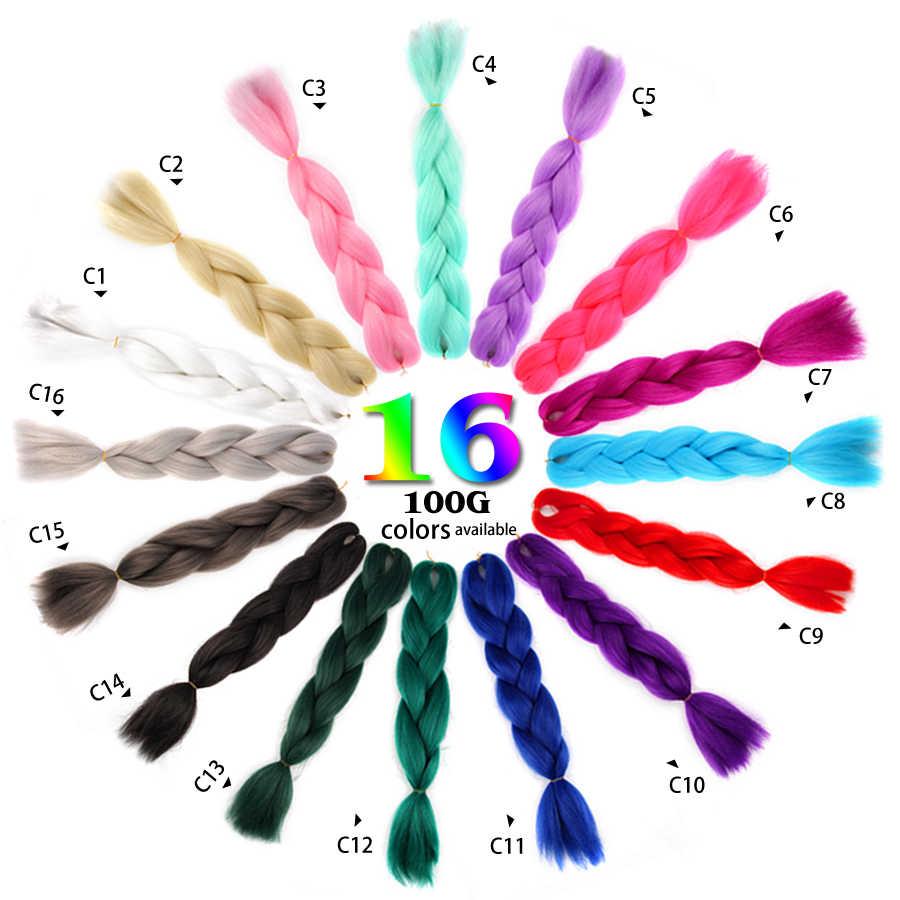 AliLeader 47 цветов вязание крючком синтетические широкие плетение накладные волосы Омбре коричневый белый розовый, фиолетовый, зеленый серебристо-серый 24 дюйма