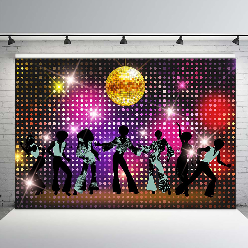 Vintage 80s 90s Disco Night Party Backdrop Neon Boogie Dancers Shiny Birthday Decorations Photo Background Props In From Consumer