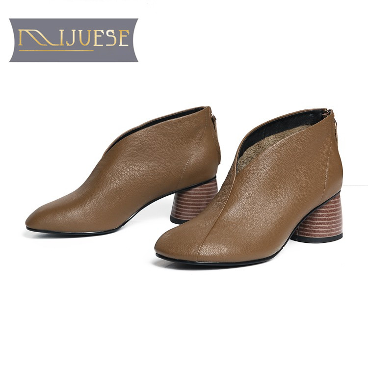 MLJUESE 2019 women ankle boots cow leather camel color round toe slip on vintage autumn spring women martin boots casual boots camel camel boots cowhide thick heel rivet velvet fashion pointed toe boots vintage casual thermal boots