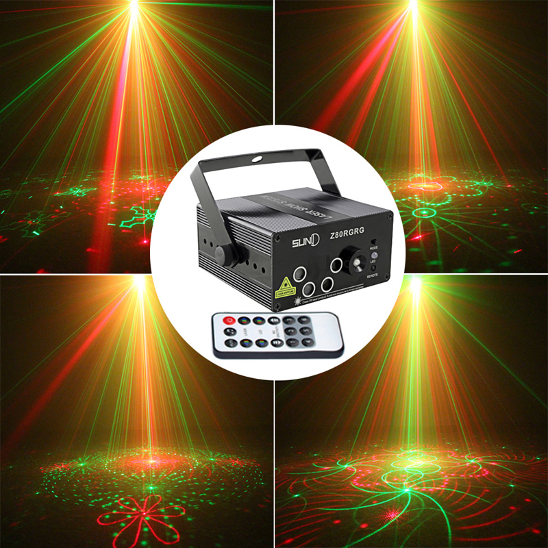 Mini Portable Stage Light 5 Holes 80 Patterns RG Laser Project Sound Activated Light Stage Lighting Red Green Blue AC110v-240v