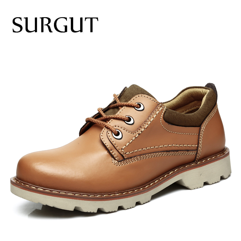 SURGUT Spring Summer Hot Casual Shoes High Quality Men Leather Shoes For Men Lace-Up Brand Fashion Comfortable Working Shoes Men vmuksan hot sale suede leather shoes men high quality lace up men casual shoes new style comfortable men s spring shoes