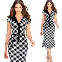New Arrival 2015 Autumn Patchwork Turn Down Collar Buttons Short Sleeves Wear To Work Office Dress