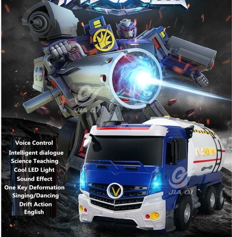 Educational ELectric RC Robot Model TT6609 2.4G Simulation Oil Tanker Voice Contorl One Key Deformation Remote Control Truck цены