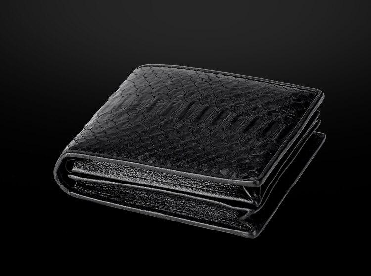 100% véritable véritable peau de serpent authentique hommes à deux volets Python serpent portefeuille carte de crédit argent portefeuille et étui noir livraison gratuite