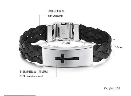 Jewelry wholesale, han2 ban3 jewelry, fashion gifts, titanium steel cross, braided belt man, hand catenary N516
