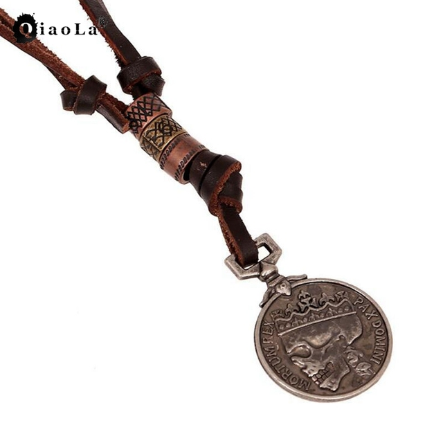 2017 Punk Brown Genuine Leather Vintage Skull Necklaces Antique Silver Skeleton Coins Pendant Necklace for Men Christmas Gifts