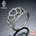 VOROCO 100% 925 Sterling Silver Hearts Tiara, Clear CZ Women Finger Ring Compatible with Original Jewelry A7194