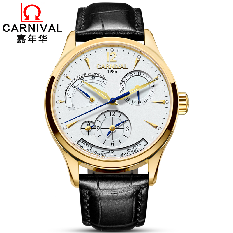 цена на Carnival Automatic Watch Men Leather Strap Mechanical Watches Mens Top Brand Luxury Gold Multi-Function Clock horloges mannen