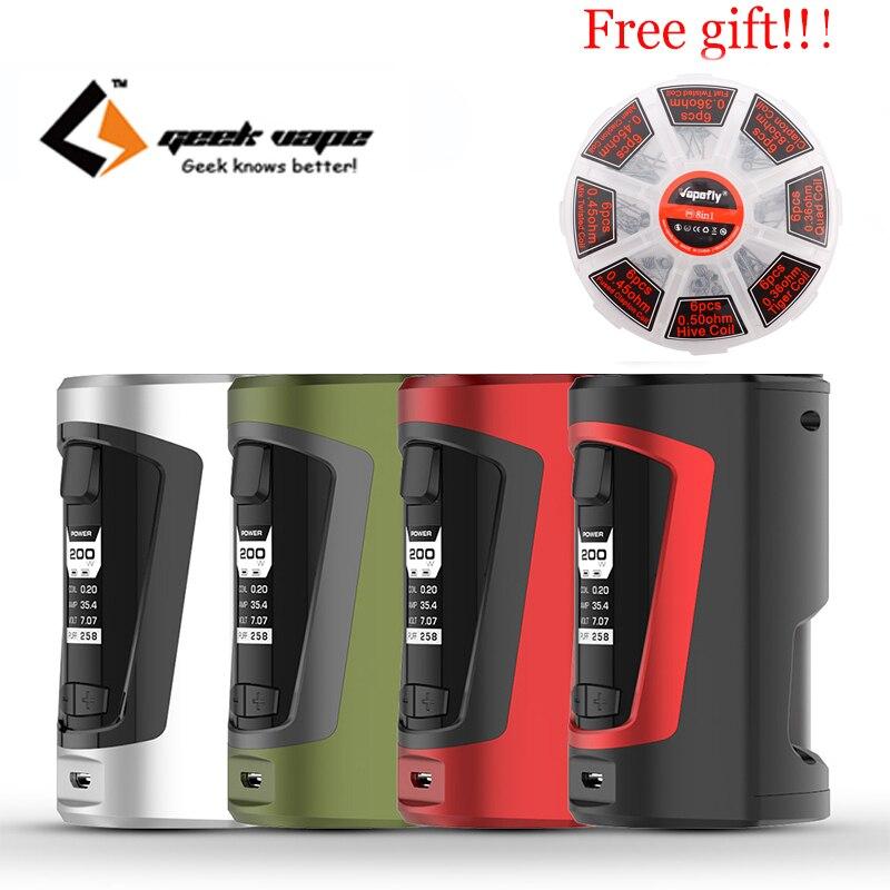 Livraison cadeau Date d'origine Geekvape GBOX Squonker boîte mod 200 w Alimenté par double 18650 batteries avec 8 ml Squonk bouteille