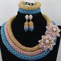 Único Turquesa/Ouro/Pêssego Talão Africano Set Jóias Champagne Tradicional Nigeriano Beads Colar Pulseira Brincos Set ABC072