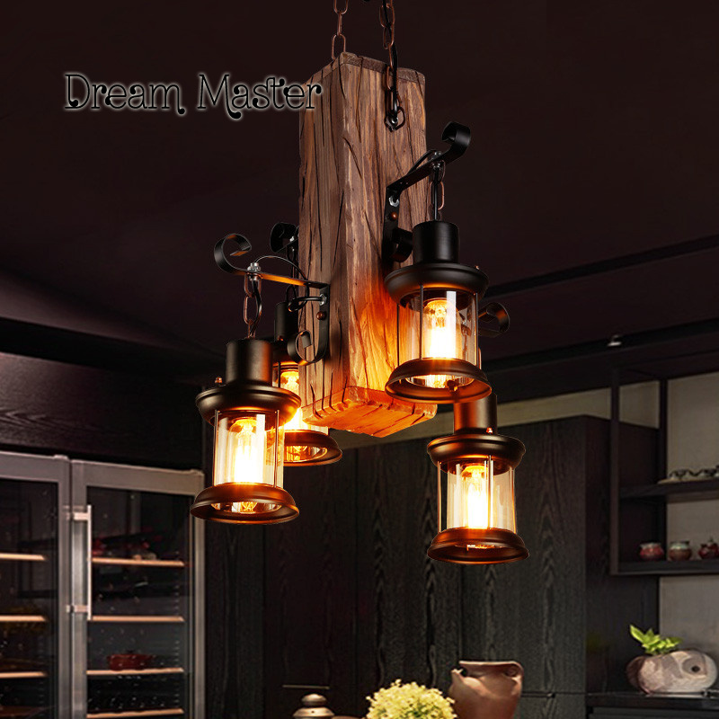One industrial wind bar creative personality retro Restaurant Bar clothing store wood lamps ledream creative personality electroplating apple glass lamps of restaurant contemporary retro industrial bar led lamps