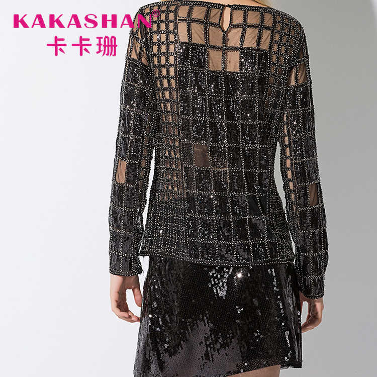 ... Sequined Sexy Girl Night Club Wear See-Through Blouse New Women e Sequin  Glitter Tops ... ec9142b9f075
