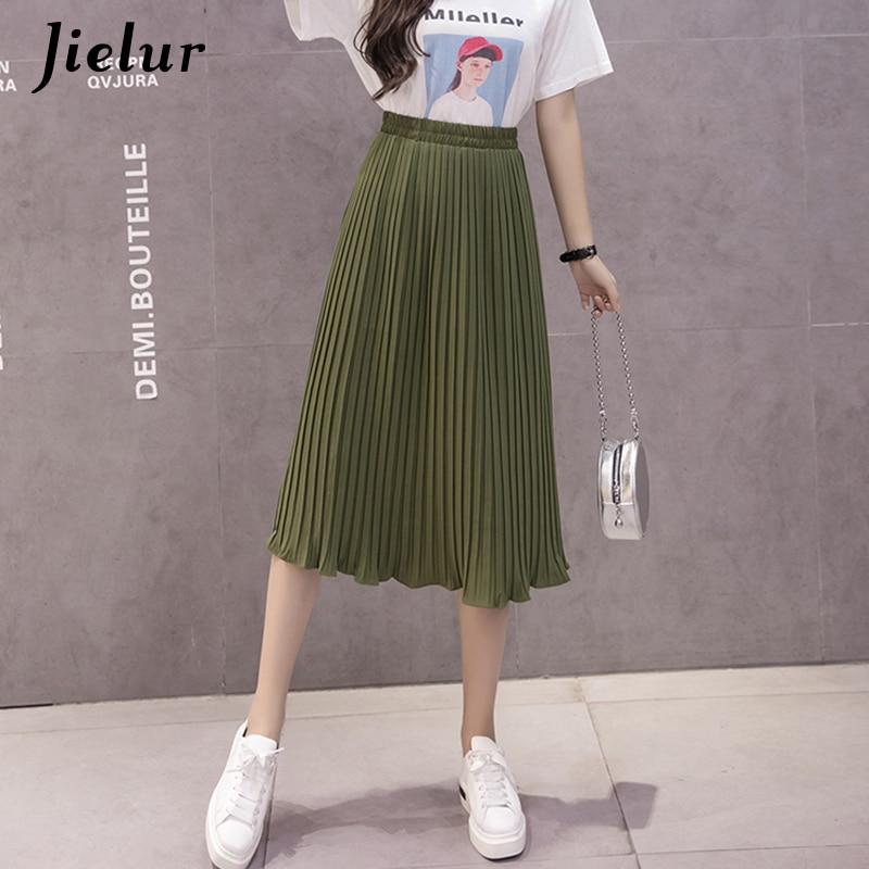 Image 5 - Jielur 6 Colors Korean Fashion Summer Skirt Female Chiffon High Waist Pleated Skirts Womens S XL Harajuku Faldas Mujer Dropship-in Skirts from Women's Clothing