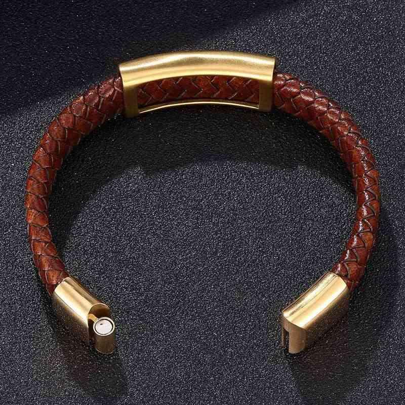 Винтажные кожаные браслеты для мужчин коричневый Плетеный мужской кожаный браслет ювелирные изделия панк Золотой S. Стальной магнит ручной браслет новый PS0250