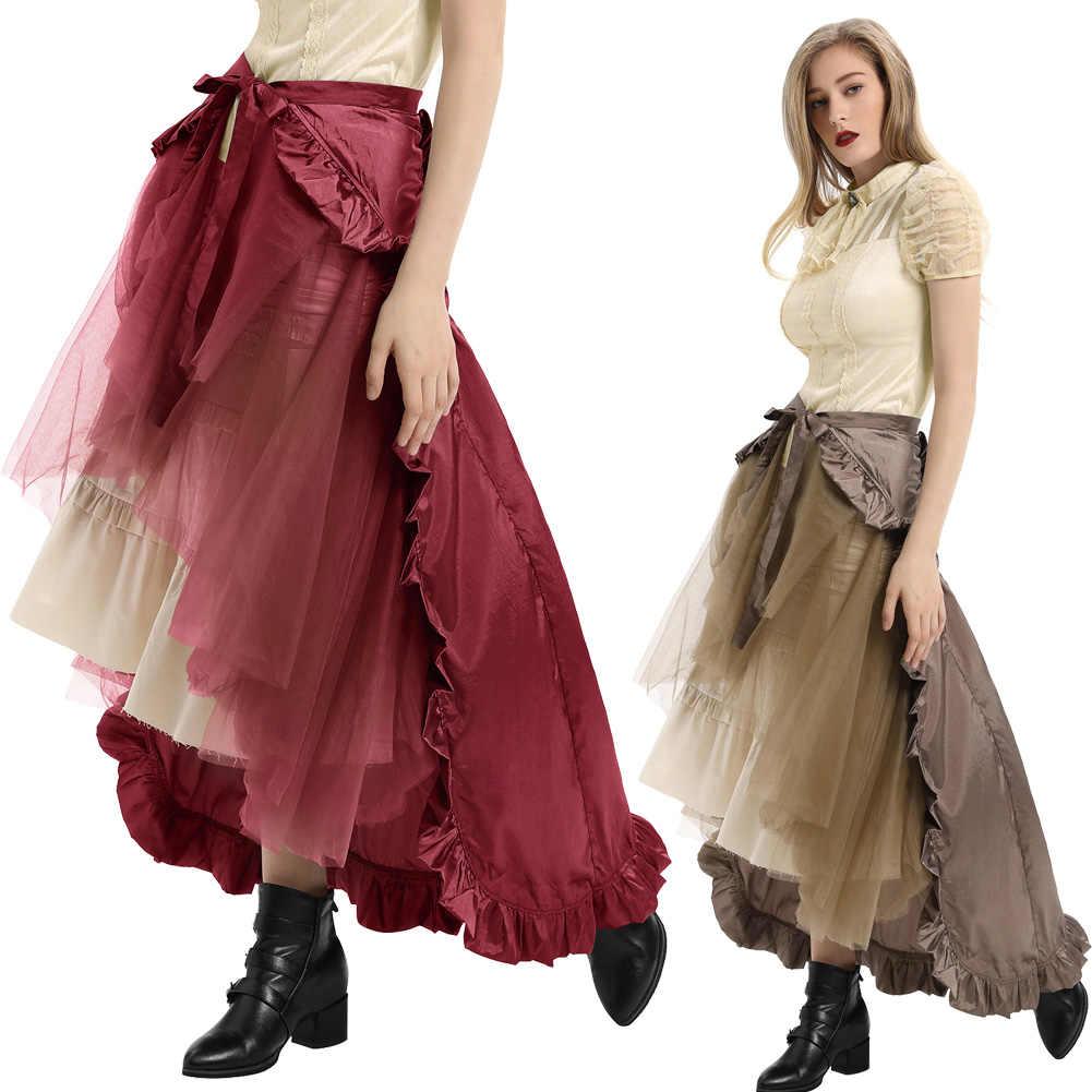 Steampunk Gotico Del Merletto Del Pannello Esterno Delle Donne di Abbigliamento di Alta Increspature Basso Del Partito Gonne Lolita Rosso Medievale Victorian Lady Punk Pannello Esterno