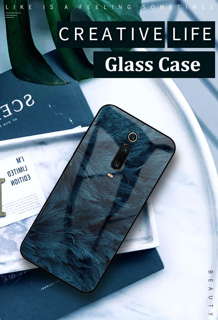 HTB1Cm6jXhv1gK0jSZFFq6z0sXXam GFAITH For Xiaomi Mi 9T Case Tempered Glass Feather Print Cover With Starry Sky Design For Xiaomi Mi9T Pro Phone Case Mi 9 SE 87