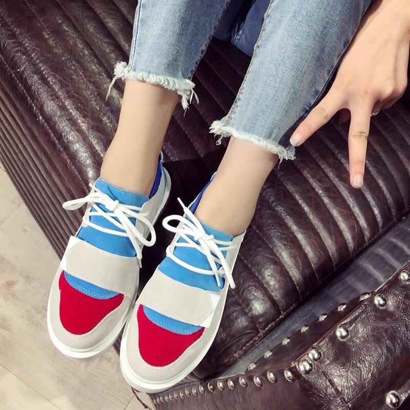 Sauvage Sangle Pu Chaussures rose Harajuku Mode Nouveau Respirant Et Ciel Mignon Croix Printemps Automne Casual Femmes gris 2018 q6w170x