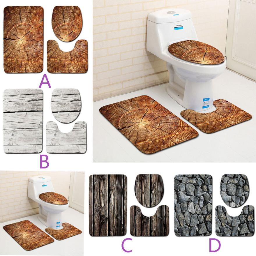 3PCS Creative Wood Pattern Non Slip Toilet Seat Cover and Rug Bathroom Set Decor t1228 ...