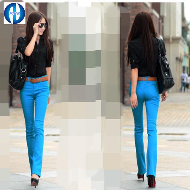 PIKB 2016 moda hot LIVRE mulheres CALÇA elástica calças cintura fina calças plus size calças casuais PRETO BRANCO VERMELHO JEAN DOM GRATUITO