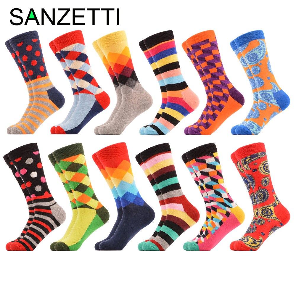 SANZETTI 12 pairs/lot Funny Mens Cotton Crew Casual Socks Diamond Dots Stripe Pattern Novelty Dress Colorful Wedding Socks
