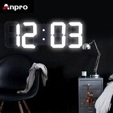 Anpro 3D большой светодиодный цифровые настенные часы с датой Цельсия ночной дисплей настольные часы будильник из гостиной